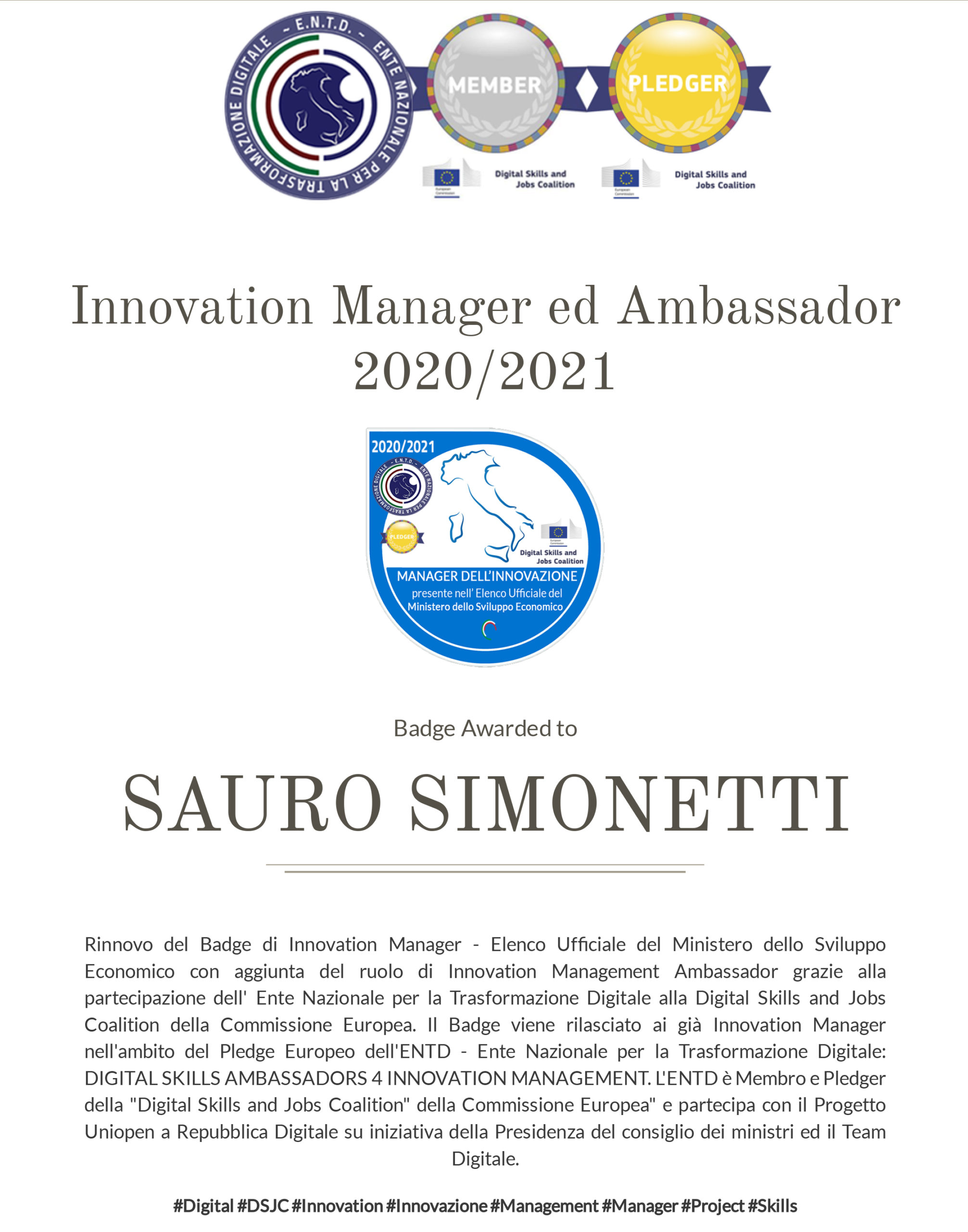 Sauro Simonetti: innovation manager e innovation management ambassador